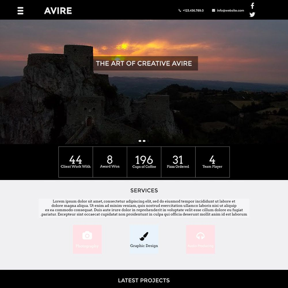 """Avire is highly customizable """"One Page Template"""". It\'s a free flat ..."""