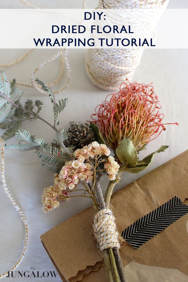 Melanie's DIY Dried Floral Wrapping Tutorial | Via The Jungalow - Perfect for Valentines Day!!