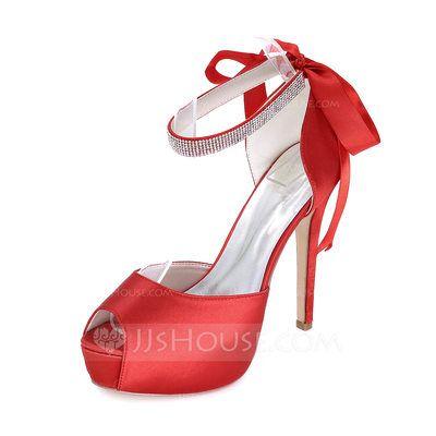 015b5dd75ea1c6  US  59.99  Women s Satin Stiletto Heel Peep Toe Platform With Rhinestone  (047093822)