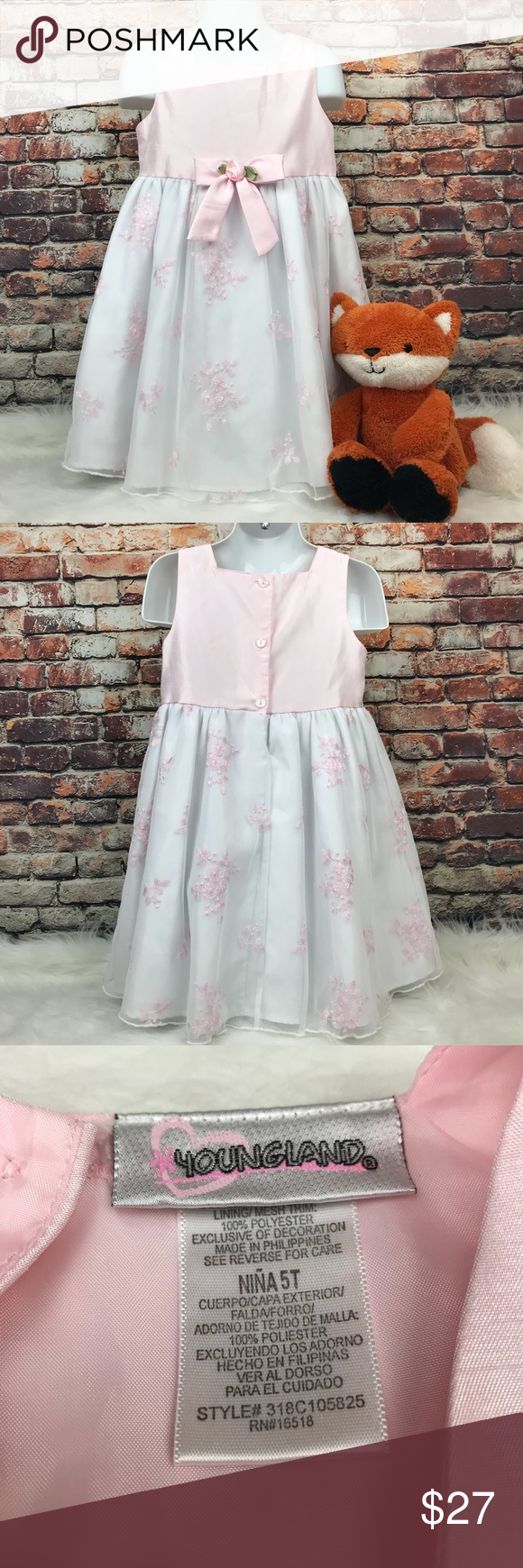 Youngland Pink White Formal Dress 5t Floral Youngland Pink White Formal Dress 5t Skirt Has 2 Layers Of Lining And New For F Fashion Dresses Clothes Design [ 1740 x 580 Pixel ]
