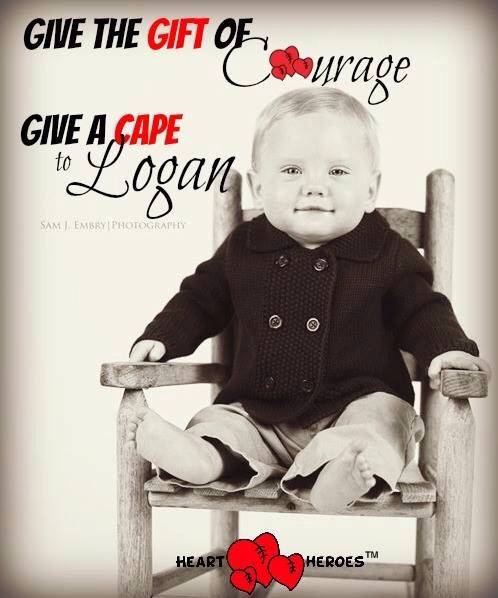 Give the Gift of Courage, Give a Cape to Logan! ❤️ (Click http://heartheroes.org/donate to Donate a cape to Logan or another #HeartHero on our wait list.  #HeartHeroes #GiveACape #CHD