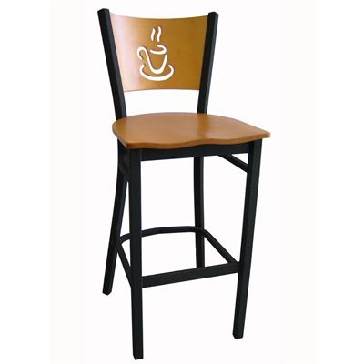 Enjoyable Metal Bar Stool With Coffee Cup Cutout Wood Back In 2019 Forskolin Free Trial Chair Design Images Forskolin Free Trialorg
