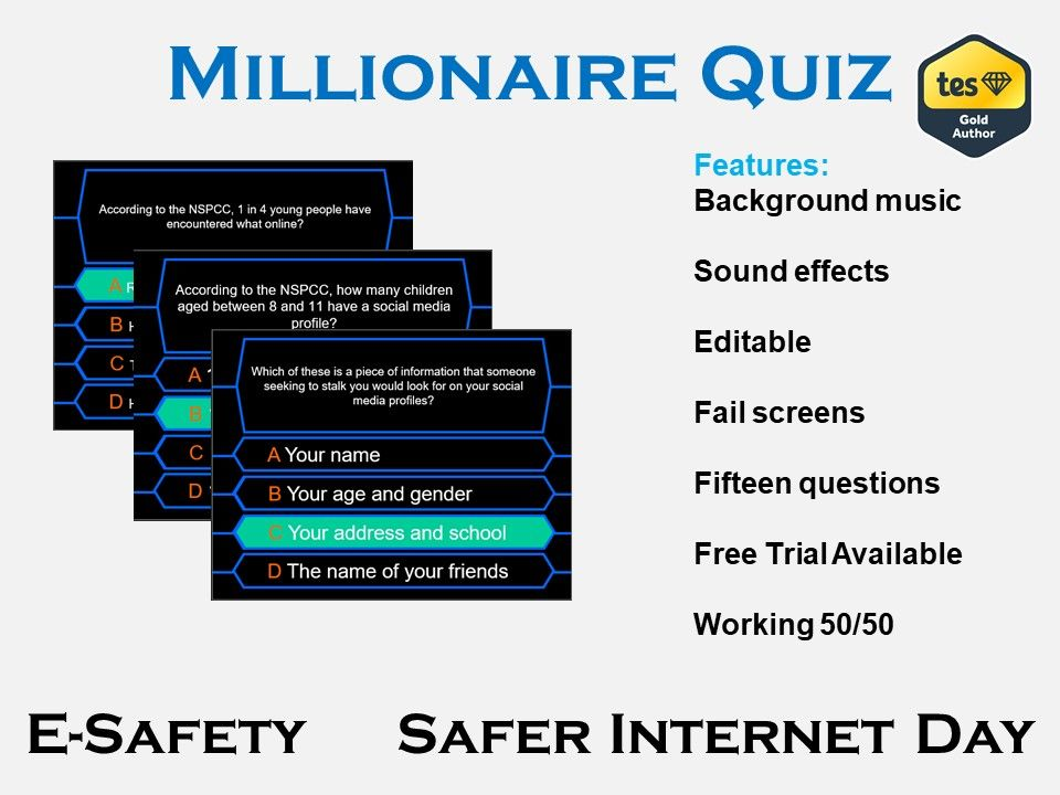 Millionaire Quiz E Safety Safer Internet Day Safe Internet Quiz Internet Safety