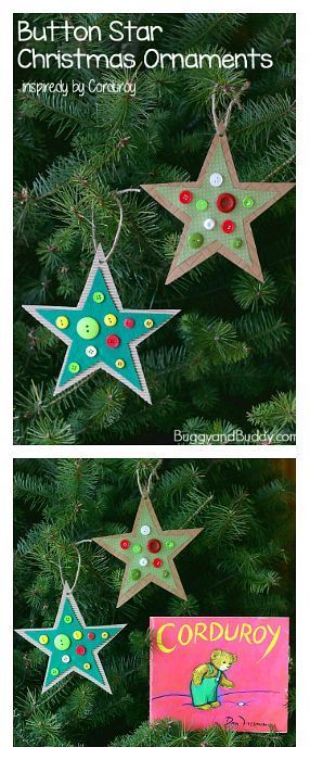 Button Star Christmas Ornament Craft For Kids Easy Homemade Ornaments Toddlers Preschool And Kindergarten Inspired By The Book Corduroy