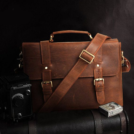 Mens Vintage Leather Duffle Bag