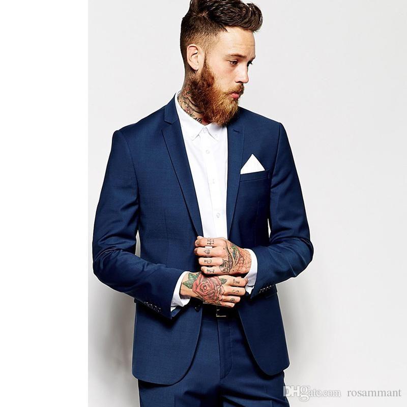 Custom Made Groom Tuxedos Groomsmen Dark Blue Vent Slim