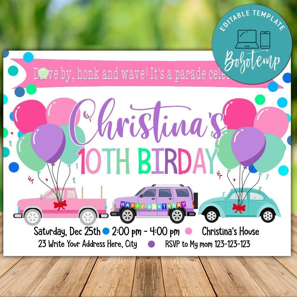 Printable Pink Car Parade Birthday Invitation Instant Download In 2020 Birthday Invitations Diy Birthday Invitations 1st Birthday Invitations