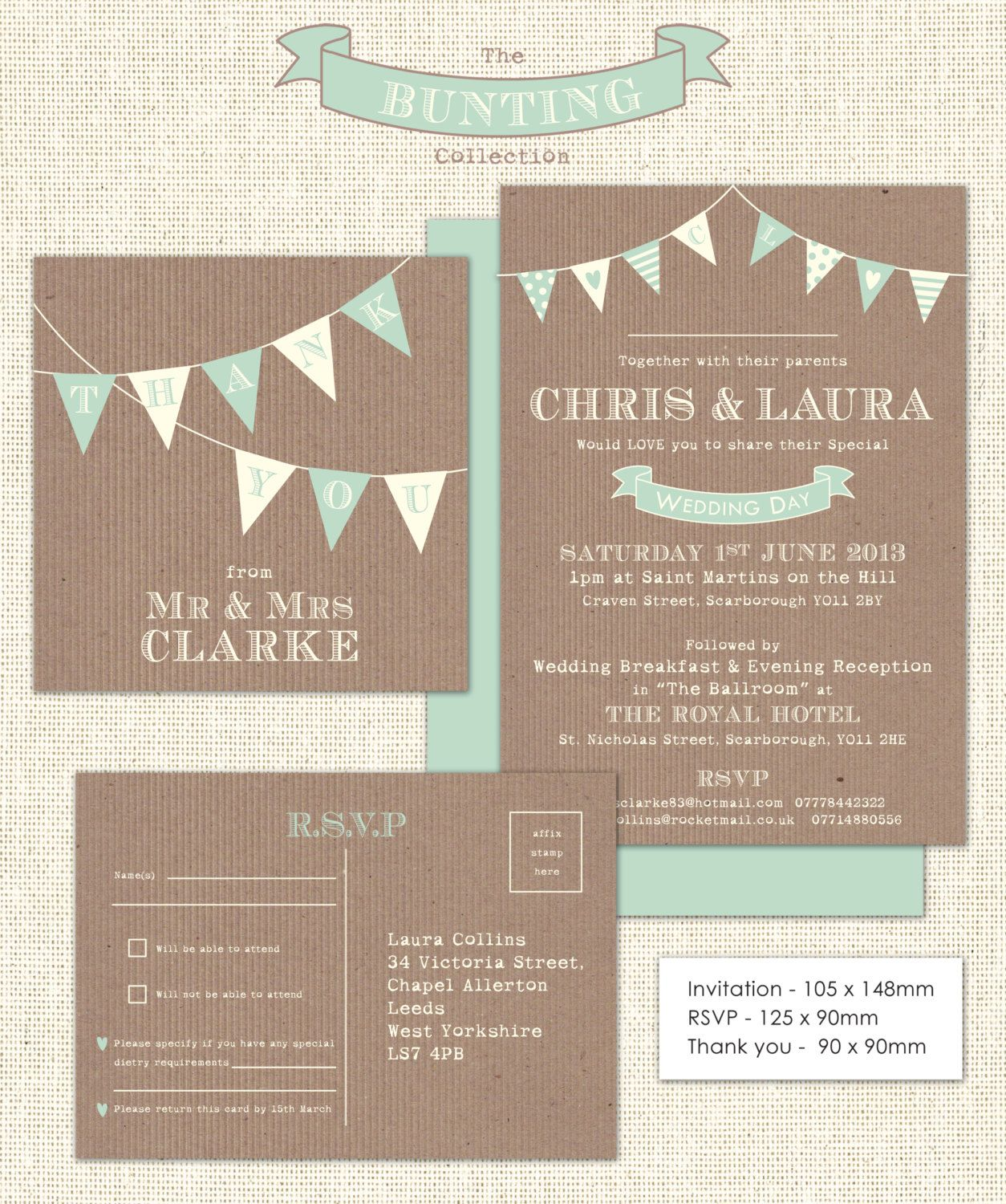 Downloadable Bunting Wedding Stationery set including invitation