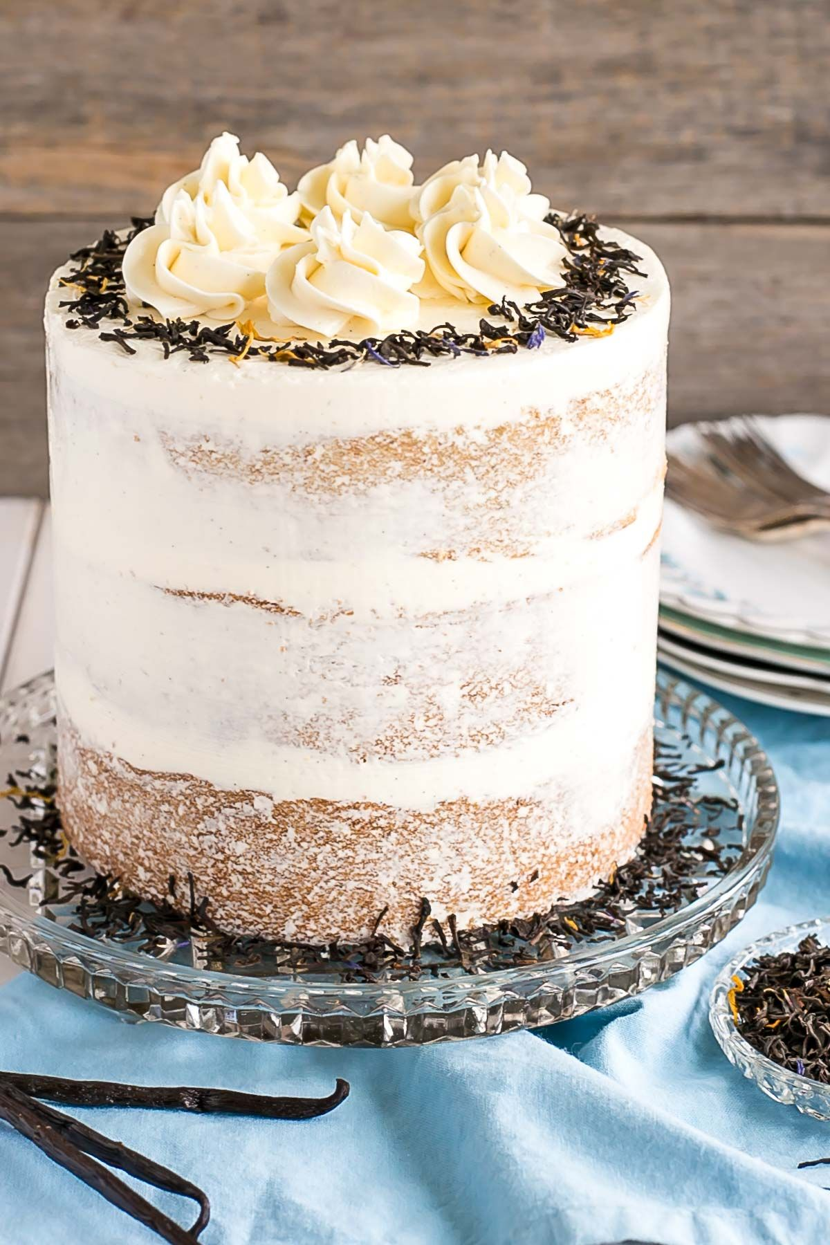 Earl grey infused cake layers paired with a silky vanilla