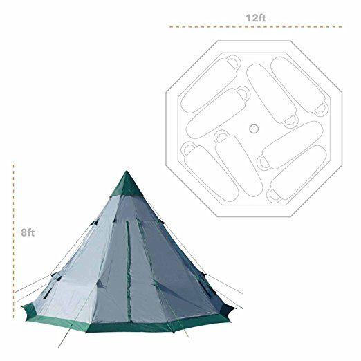 Winterial Teepee Tent 12' x 12' 8