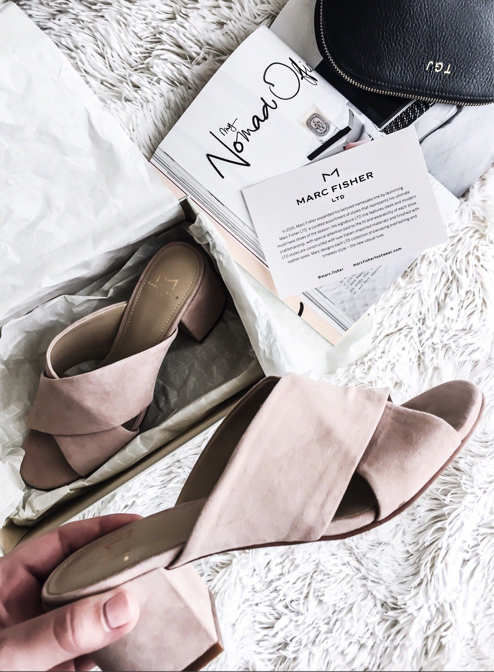 Love these new Blush slides from Marc Fisher!  Click here for full product links and details.   Women's fashion, shoes, fashion slides, outfit ideas,