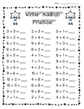 Winter Addition Practice Pack 3 Levels With Images Addition