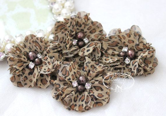 NEW: 4 pcs Aubrey Leopard Cheetah - Soft chiffon with pearls and rhinestones Layered Small Fabric Flowers, Hair accessories