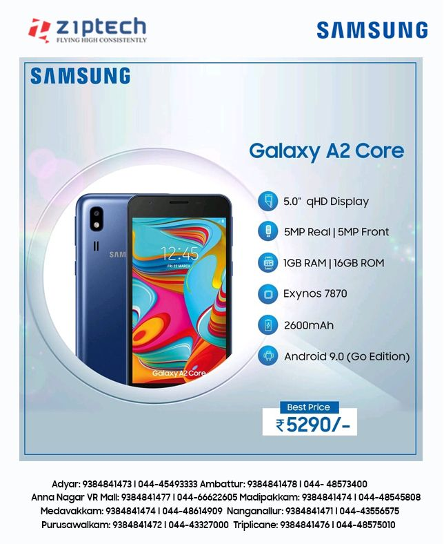 SAMSUNG Galaxy A2 core at just Rs,5,290/-. Visit the ...