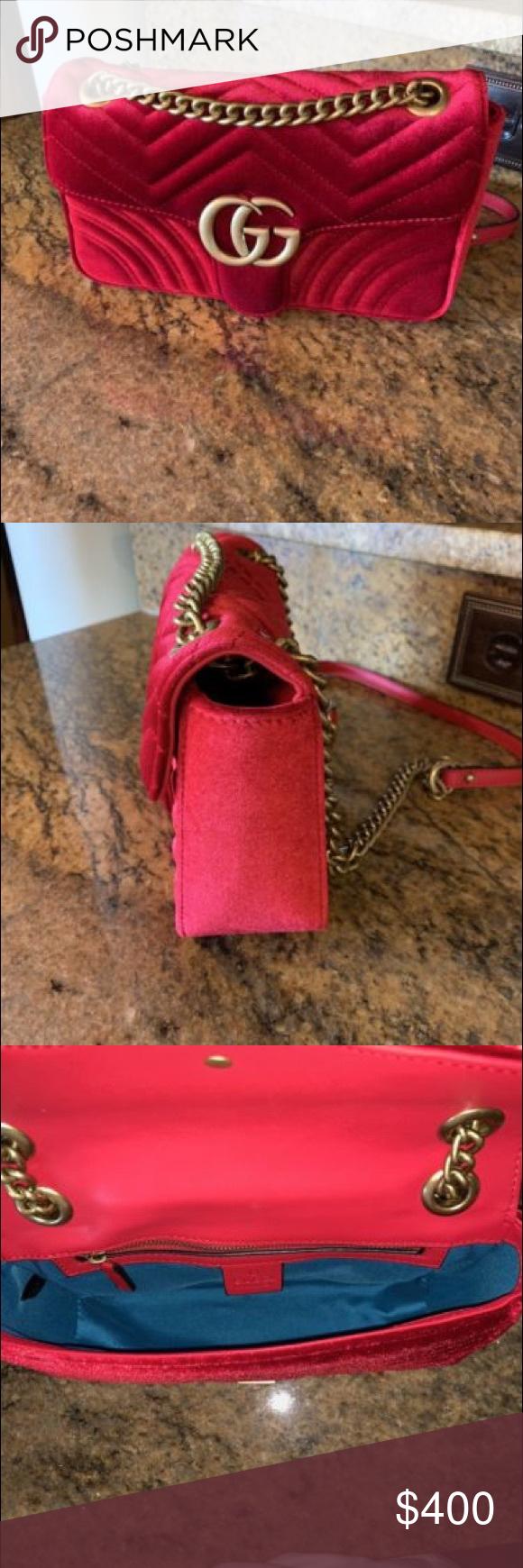 6c479b3a7489d0 Gucci Marmont Handbag Gucci GG Marmont red velvet small shoulder .