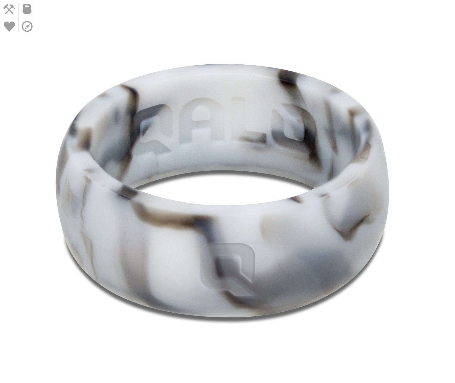 Men's White Marble Silicone Ring: Message Wedding Bands With Silicone At Websimilar.org