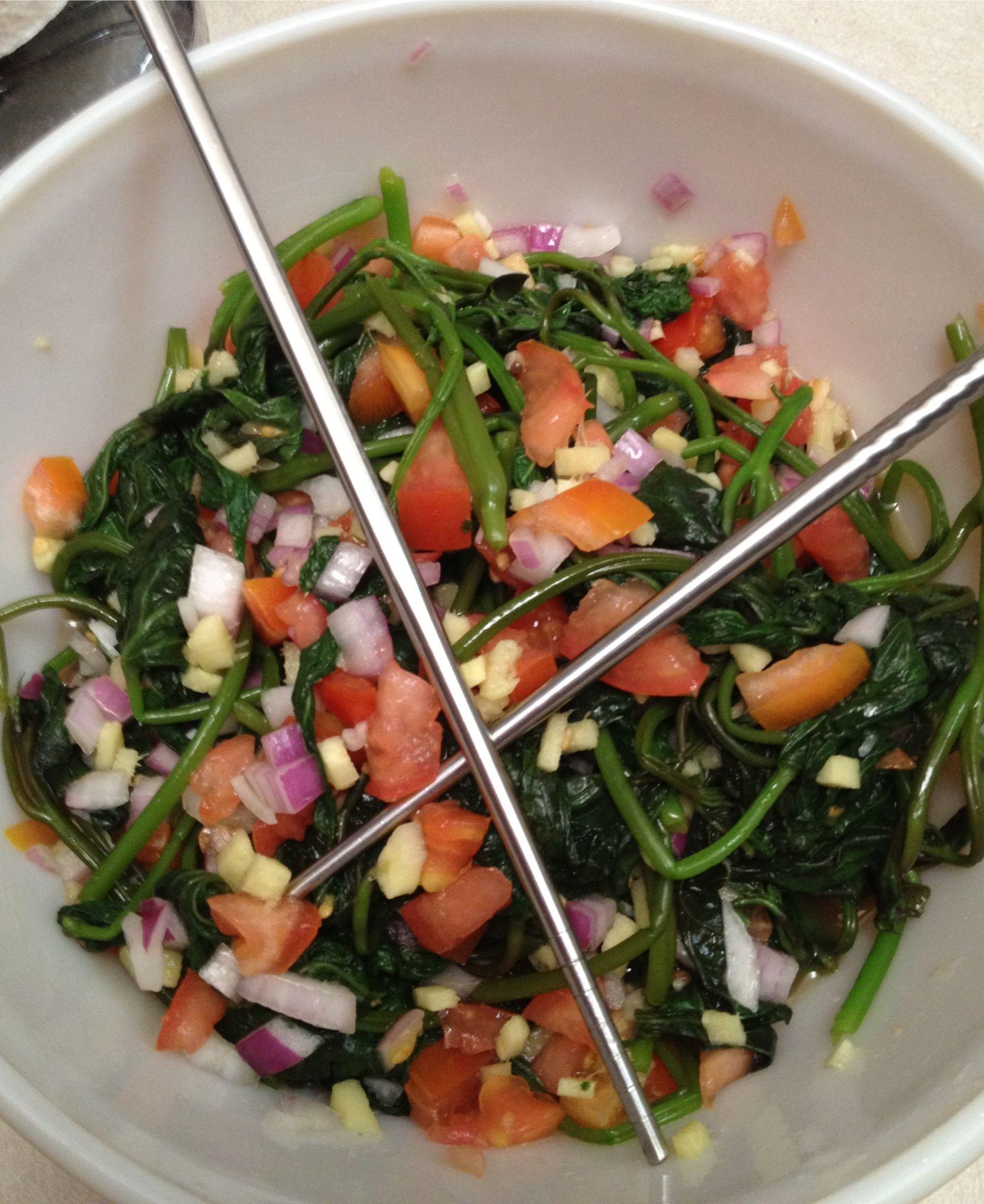 Filipino Sweet Potato Leaves Salad Foodies Pinoy Food