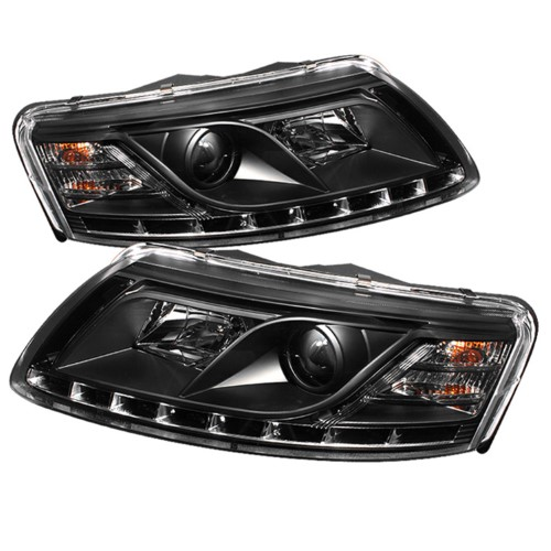 Spyder S2z 5029416 Projector Led Headlights With Drl For Audi A6 2005 2007 Projector Black Projector Headlights Audi A6 Audi