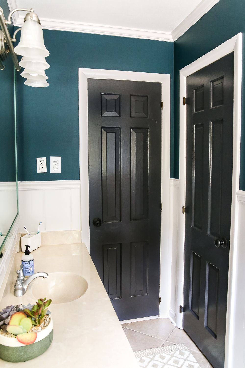 Teal Painted Bathroom Makeover Bless Er House Beige Bathroom Bathroom Makeover Bathroom Colors