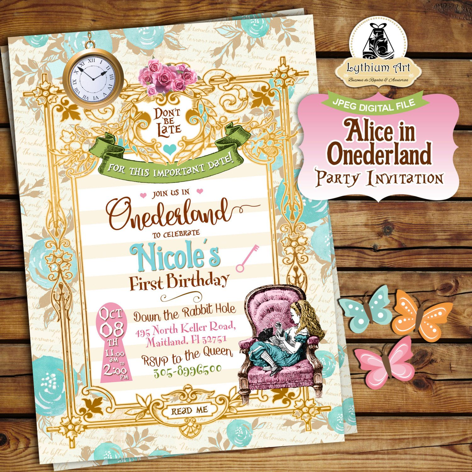 invitation words forst birthday party%0A Alice in Onederland Invitation  Alice in Wonderland Invitation  Free  Thank You u      st Birthday InvitationsParty