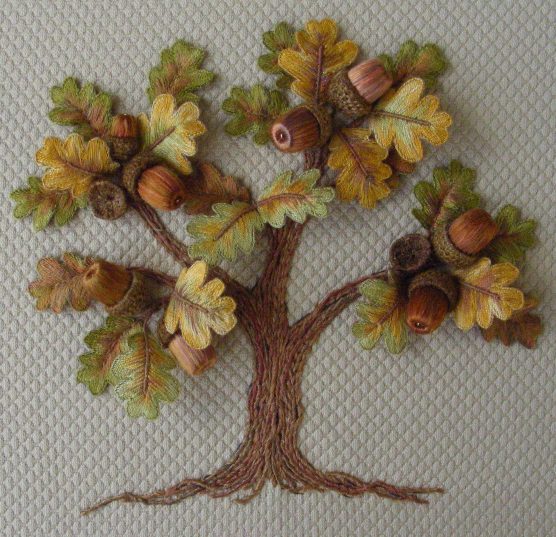 Oak tree my stumpwork embroidery pinterest