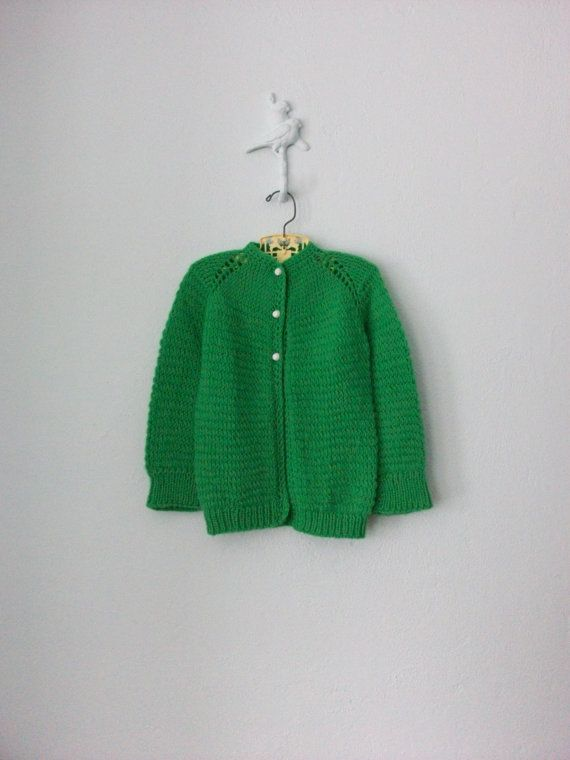 30a121993 Child s Green Sweater ... Vintage 1960 s Handmade Cardigan ... size ...