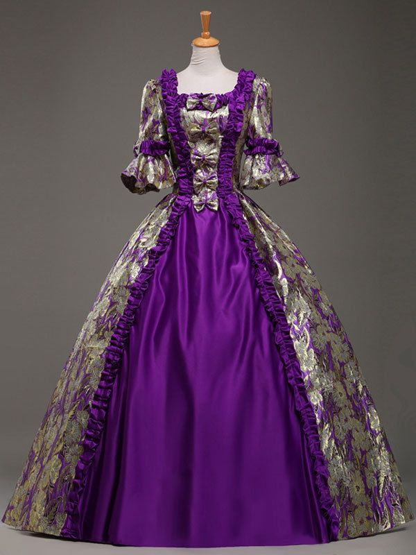 Gold Brocade Floral Purple Colonial Victorian Style Maxi Prom Ball ...