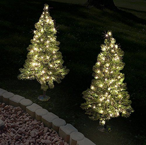 Set Of 2 2 Tall Artificial Pathway Christmas Trees For Indoor Outdoor Use Includes 50 Warm White White Led Lights Small Christmas Trees Outdoor Post Lights
