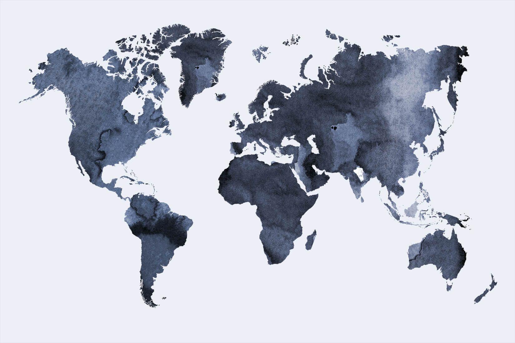 Cartina Del Mondo Da Parete.Murale Da Parete Con Cartina Del Mondo Ad Acquerello