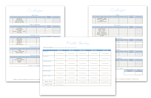 financial forms debt snowball budget printables for household