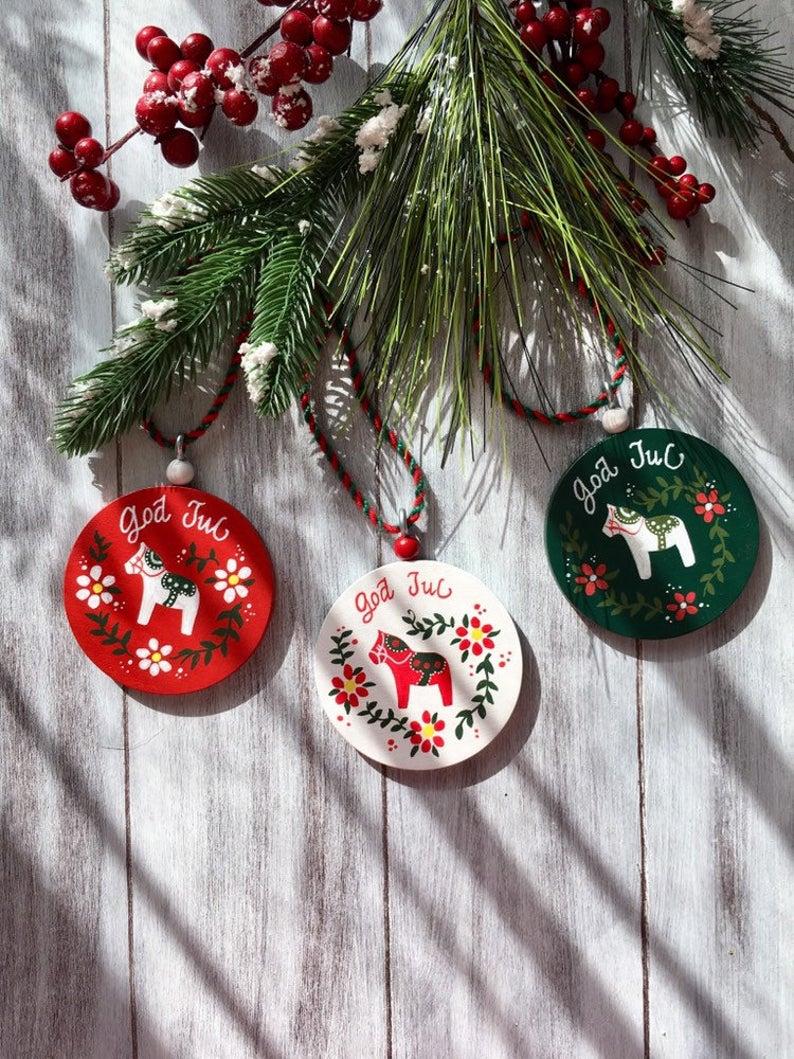 Set Of 3 Swedish Christmas Scandinavian Christmas Dala Horse Etsy In 2020 Swedish Christmas Decorations Swedish Christmas Scandinavian Christmas