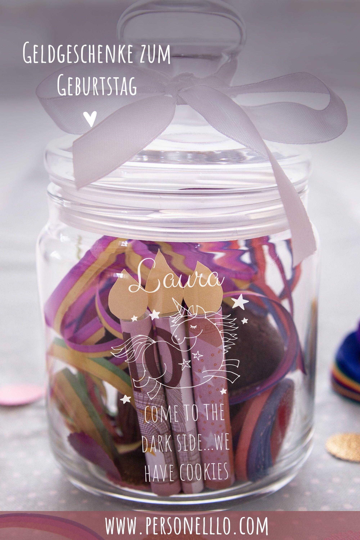 Diy Geldgeschenk Geburtstag Im Glas Mit Einhornmotiv Und Wunschnamen