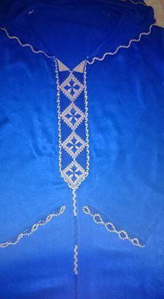 جلابة باللون الأزرق جديد الراندة للأخت Eddahbi Bouchra