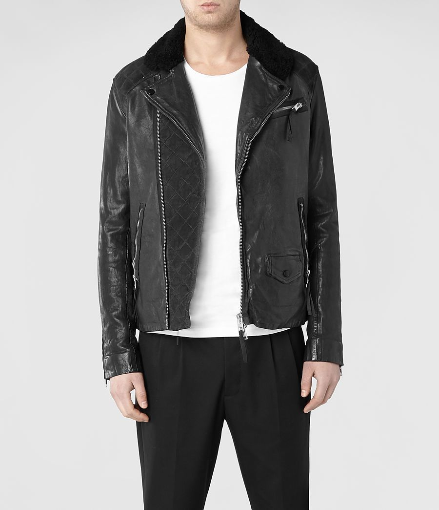 Mens Raven Leather Biker Jacket Anthracite Allsaints Com Leather Jacket Men Leather Jacket Biker Jacket [ 1044 x 900 Pixel ]