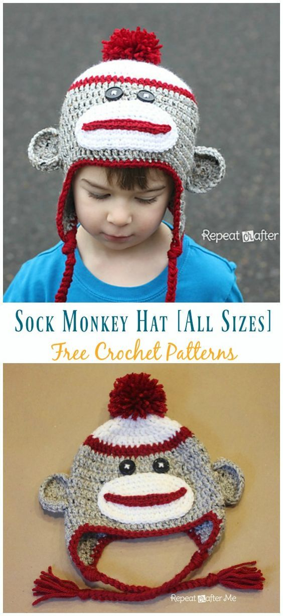 Sock Monkey Hat Free Crochet Patterns #sockmoneky