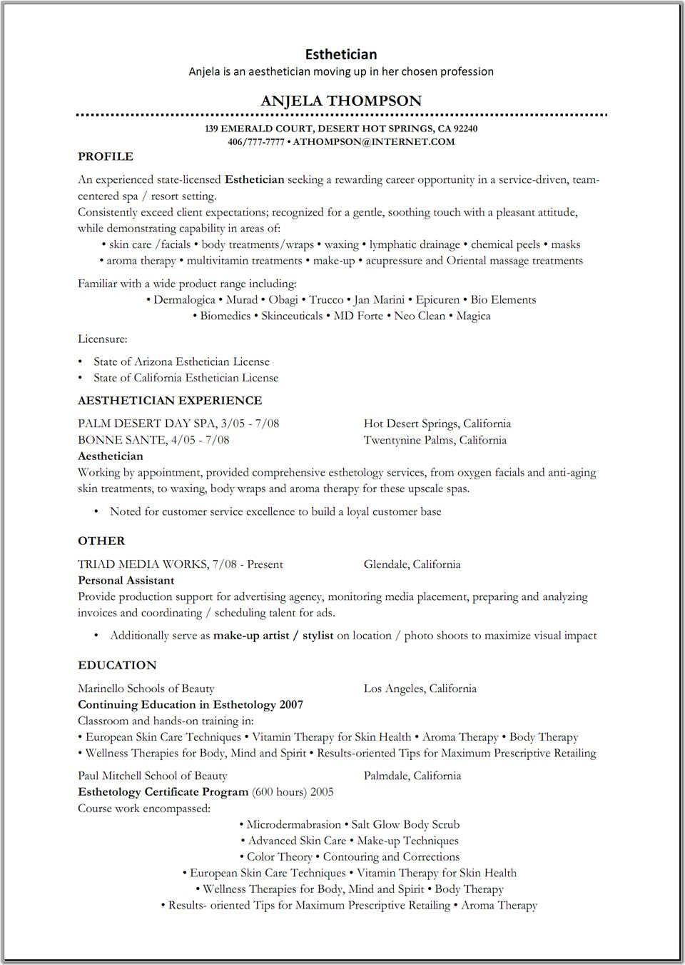 esthetician resume sample httpwwwresumecareerinfoesthetician