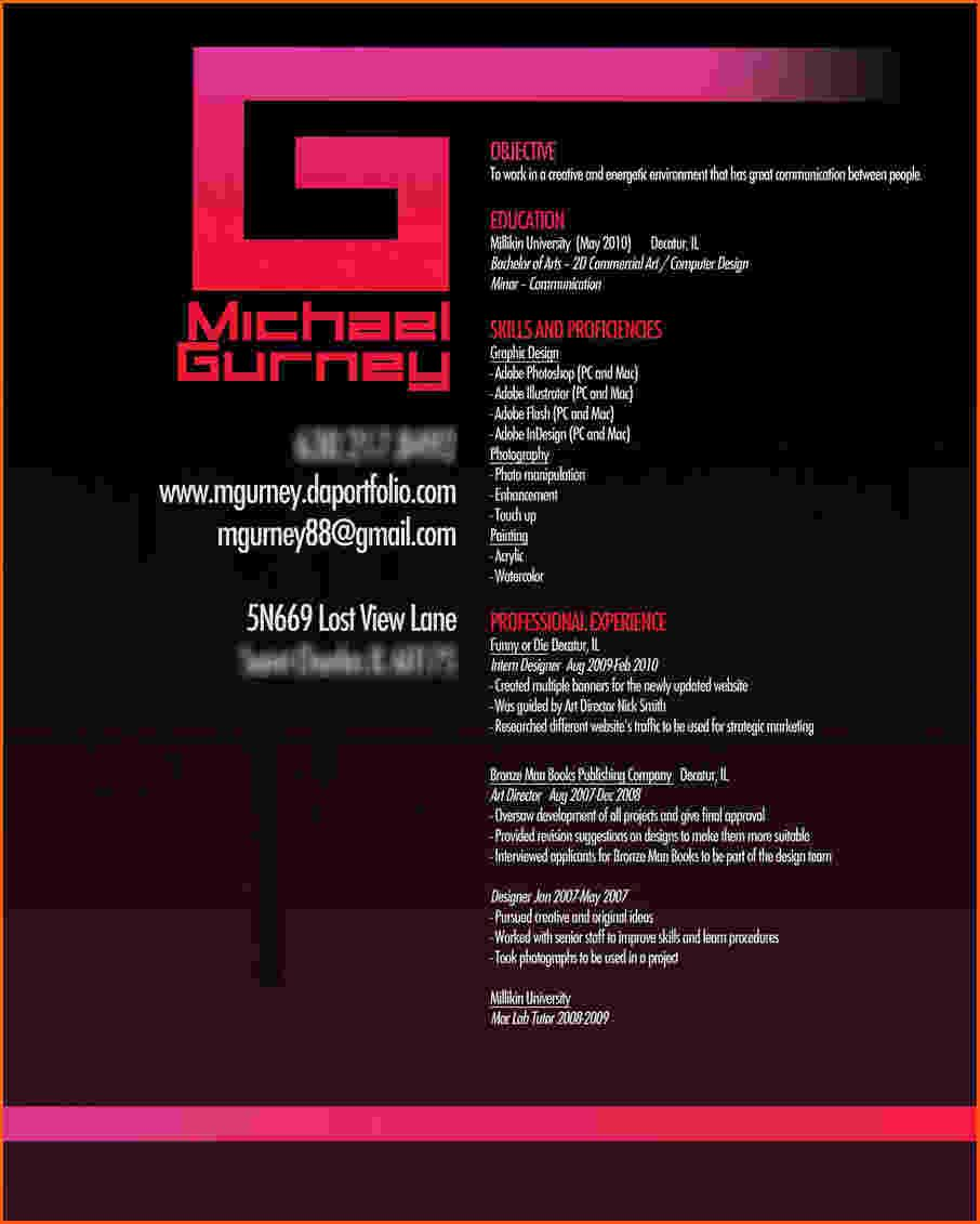 Designs With Emotions Graphic Design Resume  Graphic Design