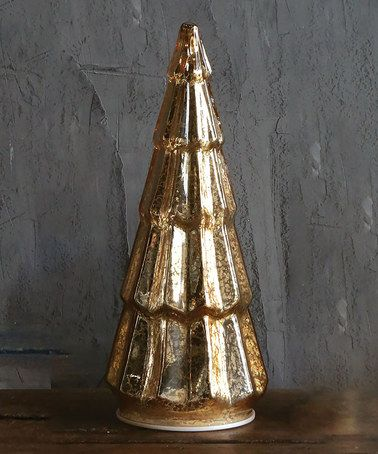Look what I found on #zulily! Gold 14.5'' Glass LED Christmas Tree #zulilyfinds