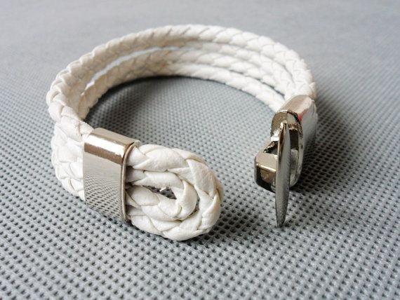 Cool White Leather and stainless steel Buckle by sevenvsxiao, $7.50