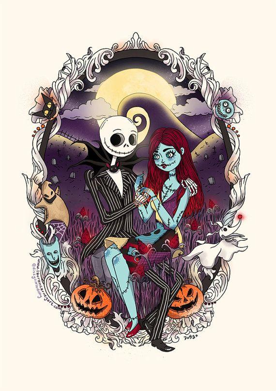 Jack And Sally Nightmare Before Christmas A4 Print Sally