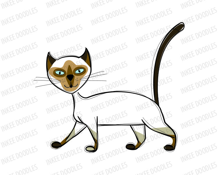 Line Drawing Yarn : Cats clip art hand drawn doodle sketches of cute run walk sit