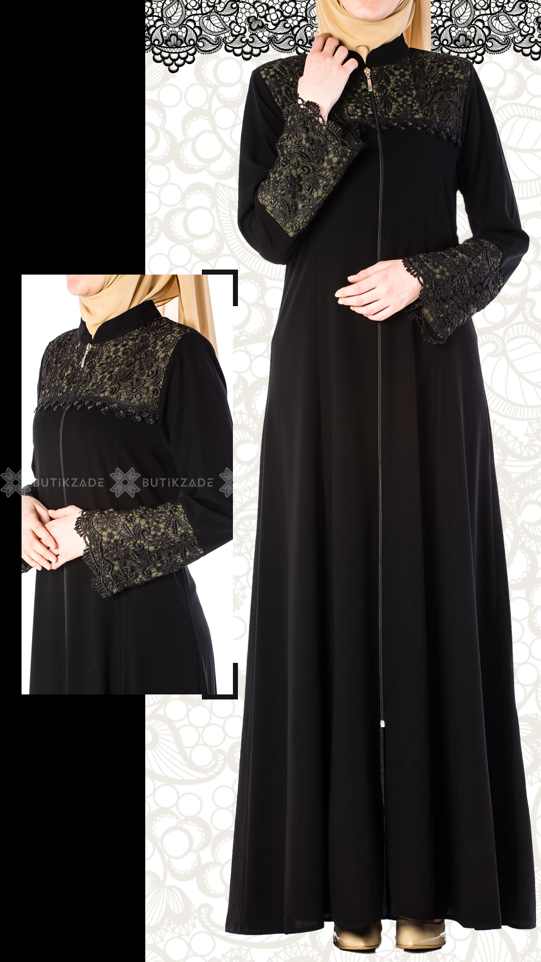 Zumrut Dantelli Ferace Yesil Elbise Islami Giyim Giyim
