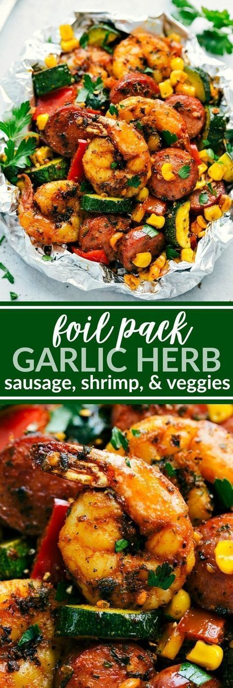 Foil Pack Garlic Herb Sausage, Shrimp, & Veggies (Chelsea's Messy Apron) Garlic Herb Sausage, Shrimp, and Veggies all cooked together in a foil pack on the grill or in the oven! Easy, minimal clean-up, and a healthier dinner option! We\u2019ve been gearing up to get the toddler #grilledshrimp