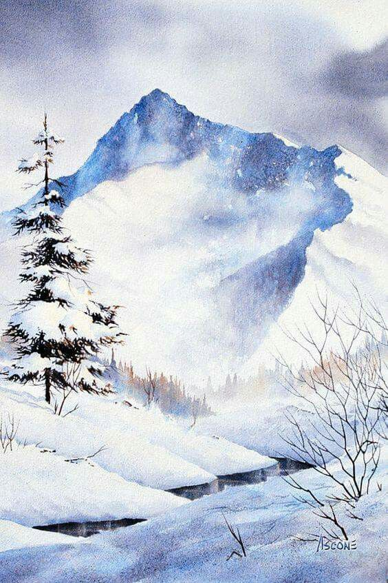 Beautiful Watercolor Landscape Winter Landscape Landscape