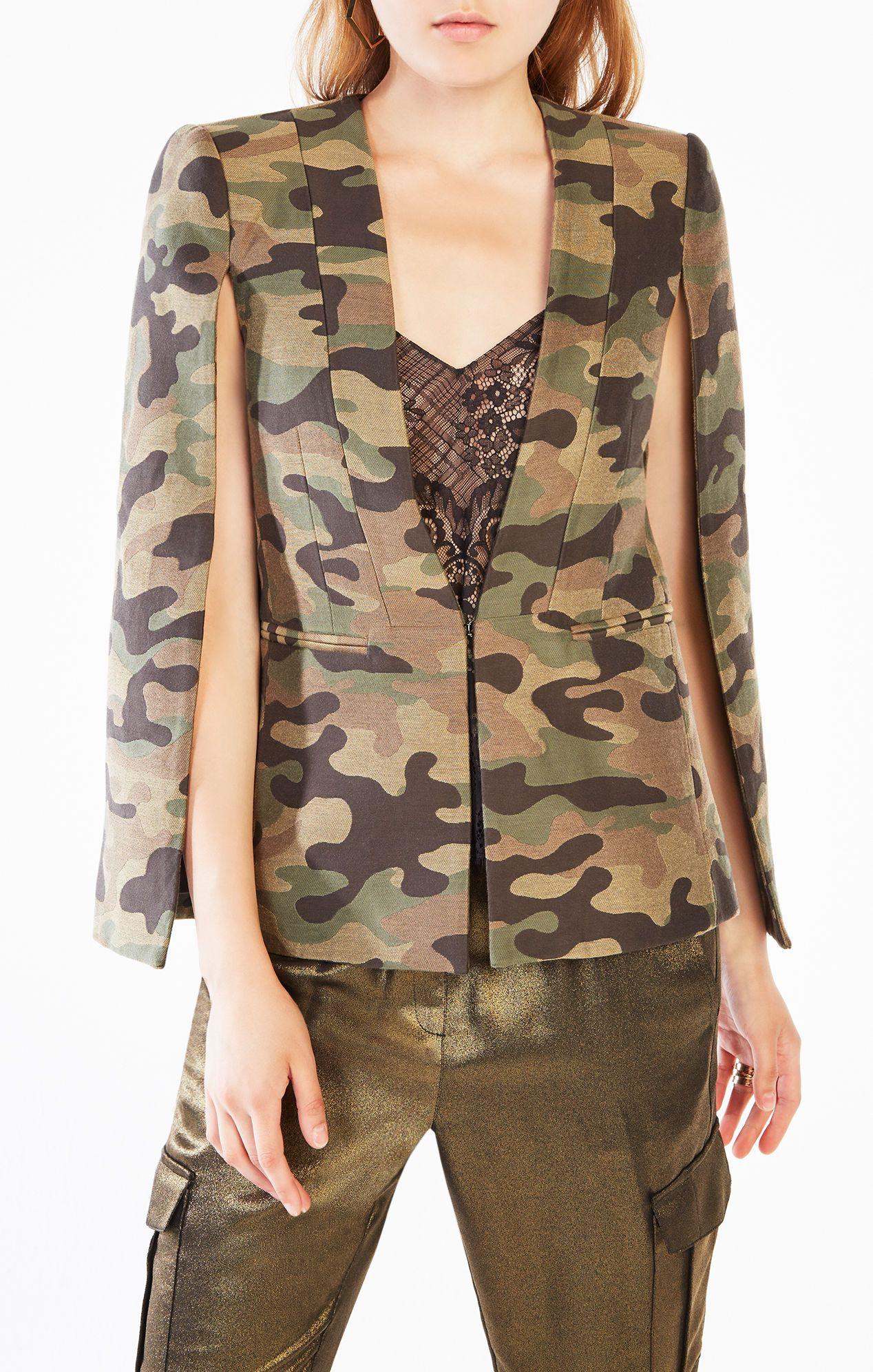 4c49cf489edbe Upas Camouflage Cape Cape Jacket, Blazer Jacket, Bcbg, Camo Fashion, High  Fashion