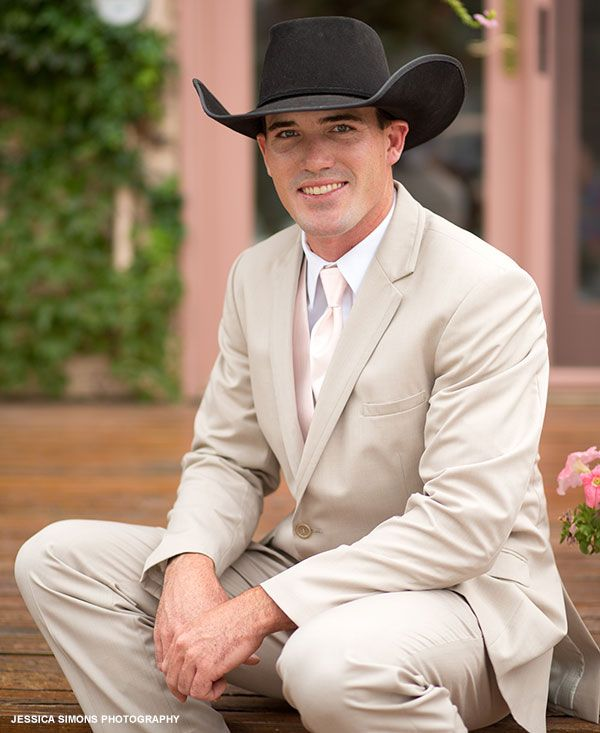 Summery light-tan suit with cowboy hat | Grooms | BHB | Pinterest ...