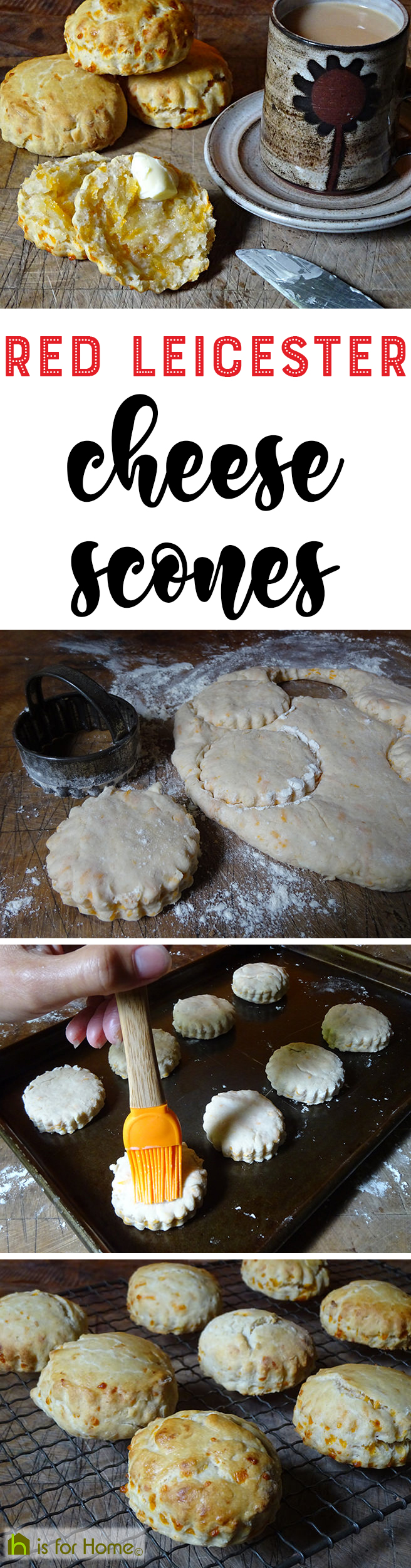 Home-made red Leicester cheese scones | H is for Home  #recipe #baking #food #pastry #scones