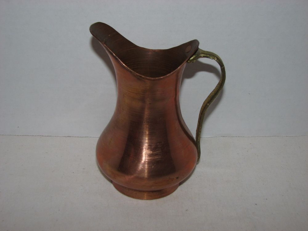 VINTAGE TURKISH ARTMARK COPPER PITCHER BRASS HANDLE INDUSTRIAL BRUTALIST DESIGN