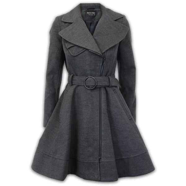 Ladies Coat Womens Jacket Wool Look Belt Long Trench Warm Winter New... (£49) ❤ liked on Polyvore featuring outerwear, coats, jackets, tops, trench coat, long trench coat and long coat