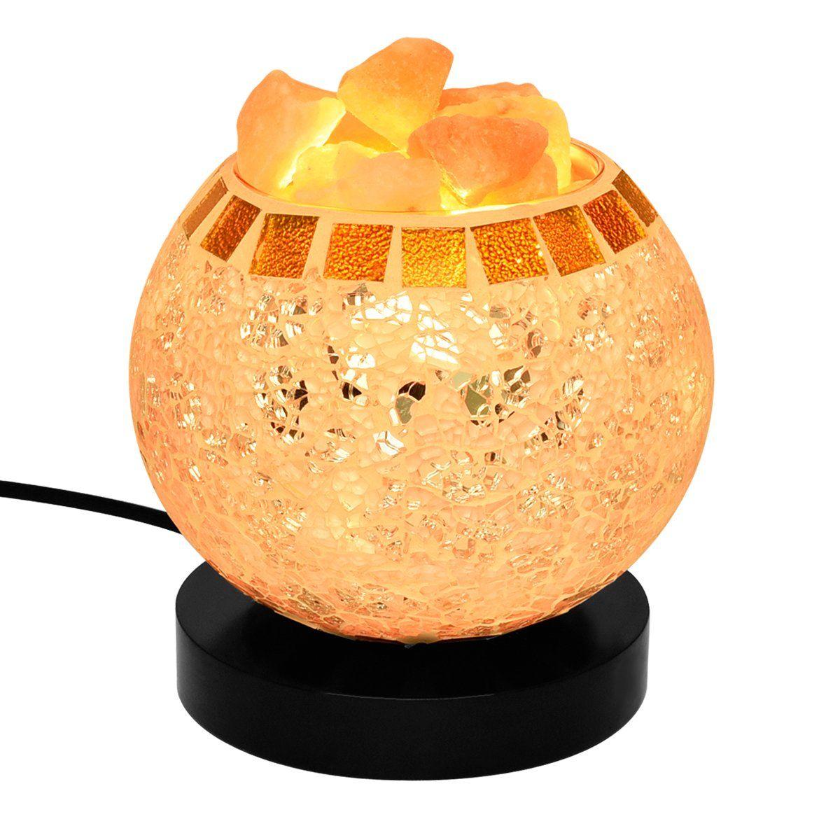 COOWOO Himalayan Hand Carved Globe Natural Salt Lamp Glow, Bulb And Dimmer  Control Salt Crystal